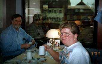 Barb & Rick - Dining Car on way to Cologne