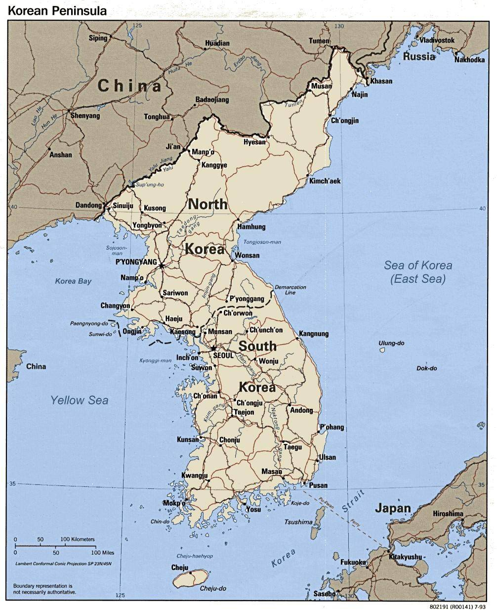 Korea Map with USFK Camps