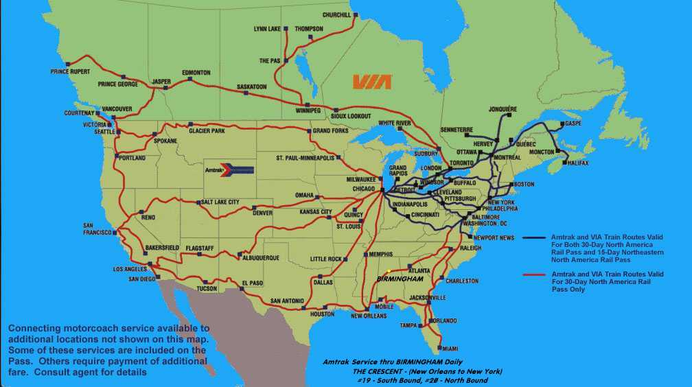Rick Lindas Travelin Partners USCanadian RAIL TRAVEL - Amtrak map of routes in us