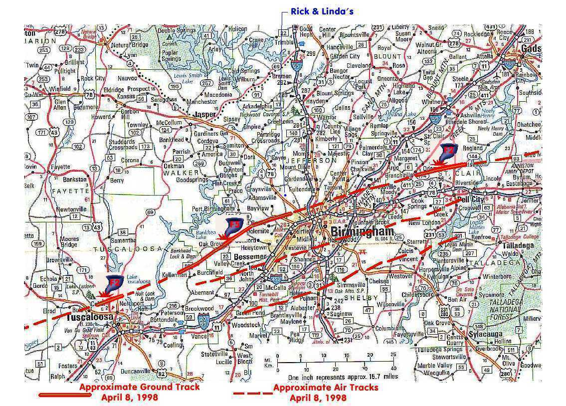 Birmingham Area Tornado Tracks - April 8, 1998